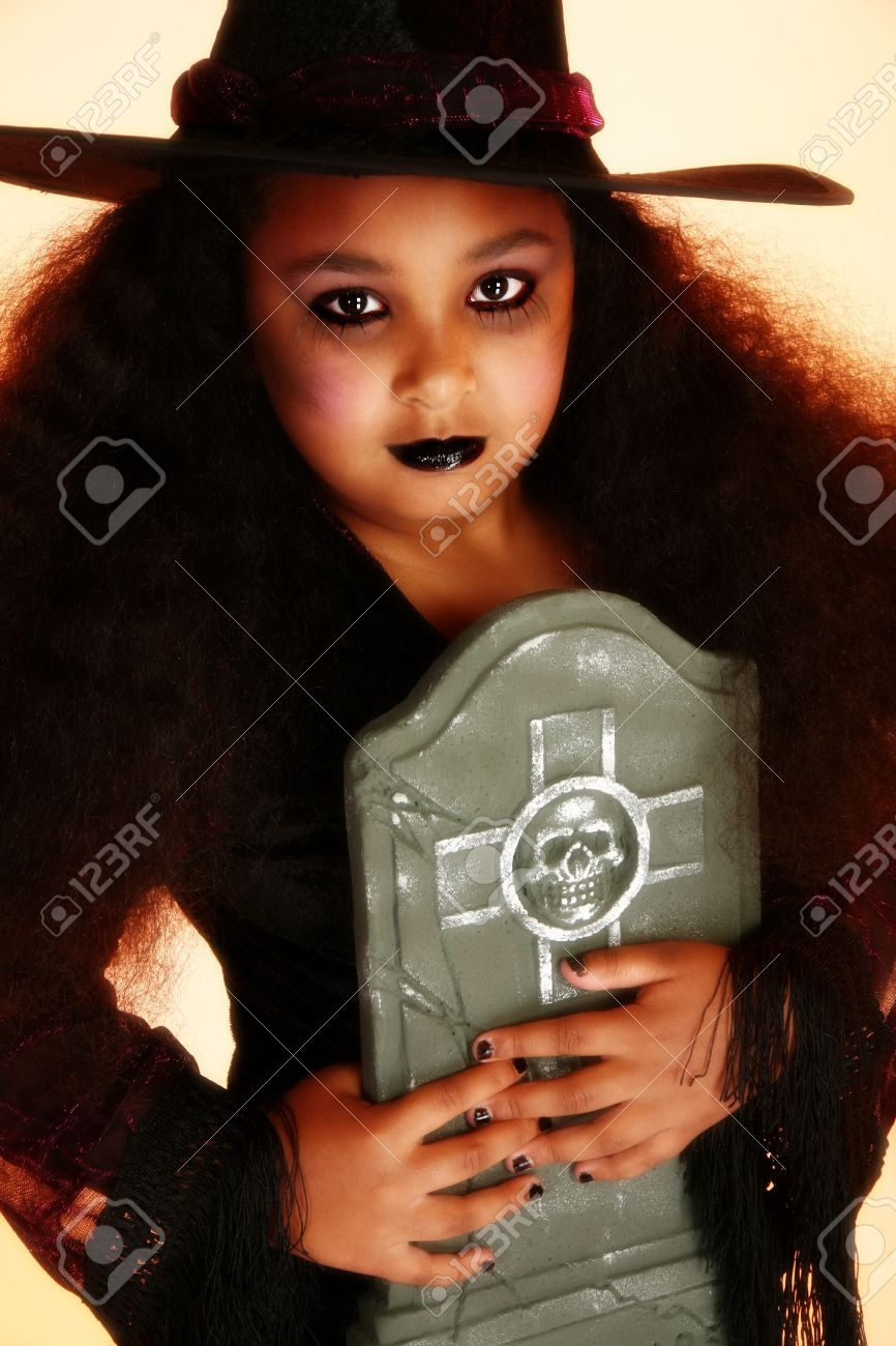 Beautiful 10 Year Old African American Girl Dressed As A Witch ...