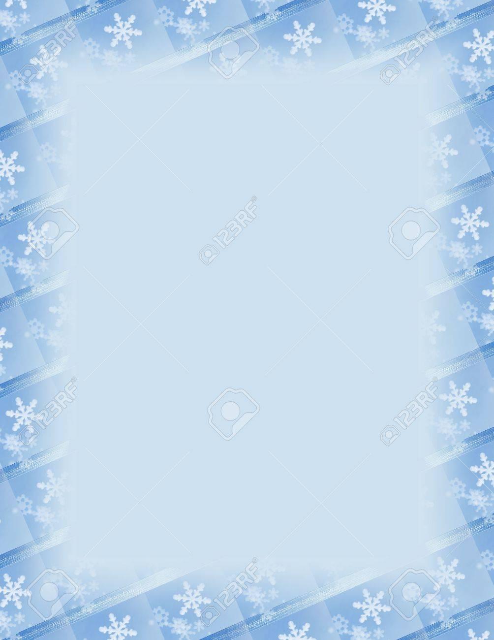 blue and white border over blue snowflake theme stock photo