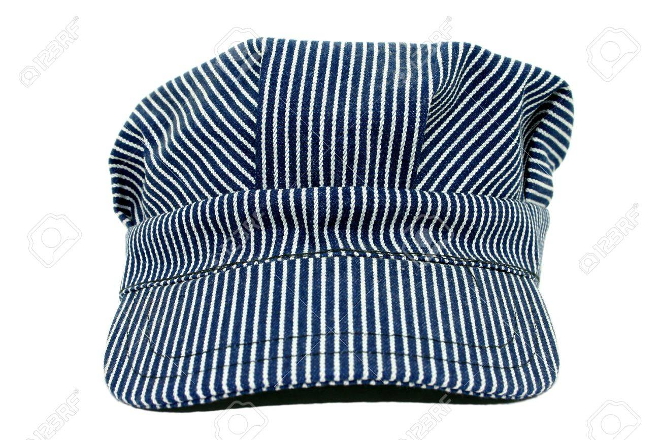 Blue and white striped conductors hat. Used. Stock Photo - 3745767 42e0019201c7