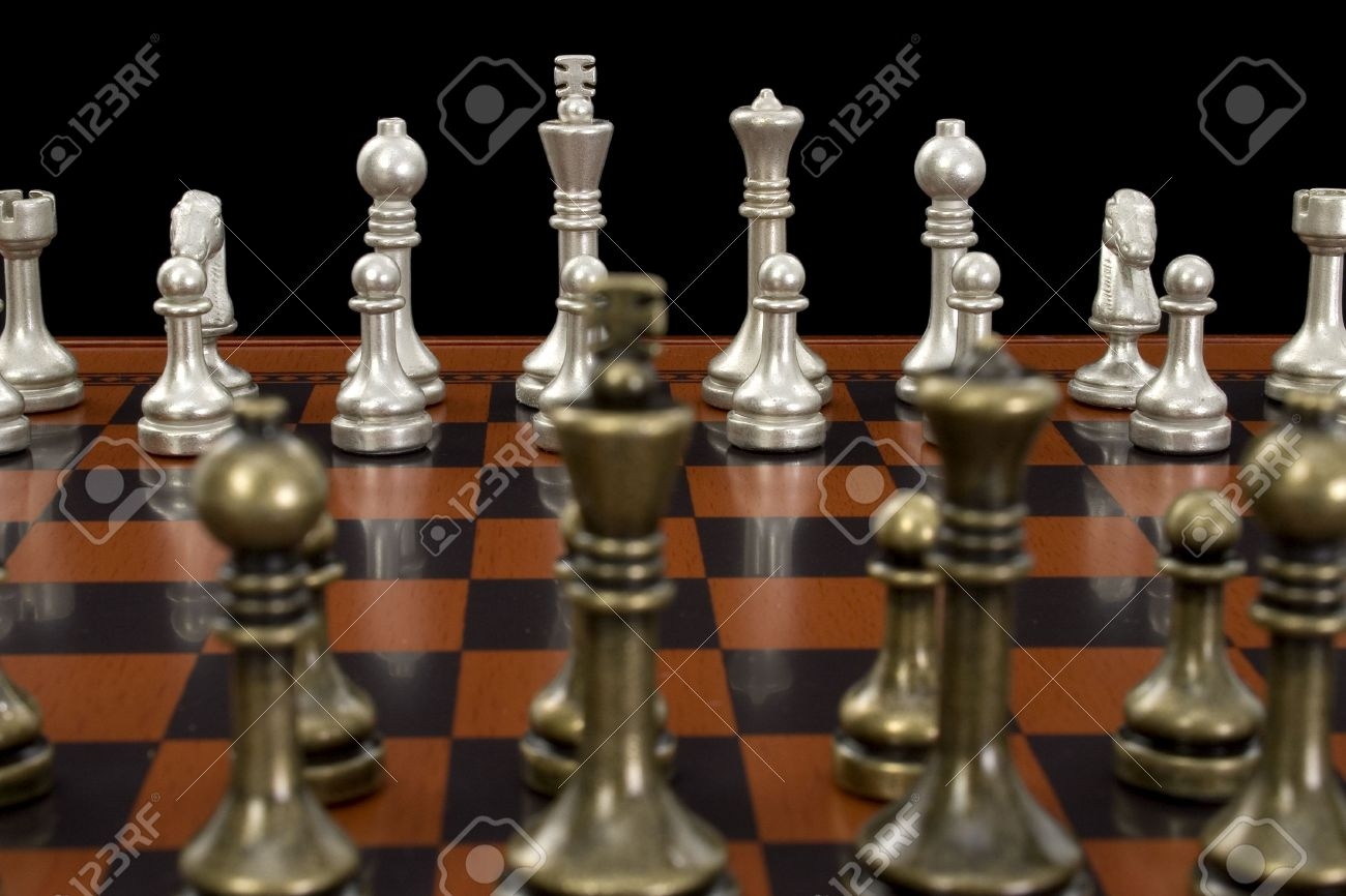 Nice Chess Boards Wooden Chess Board With Metal Peicesshot In Studio On Black