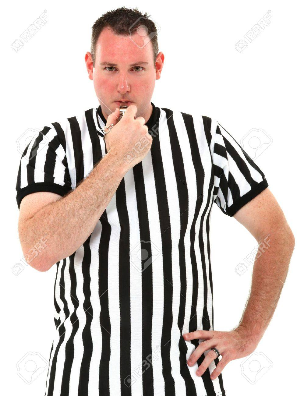 Attractive thirties referee blowing whistle over white background. - 9976798