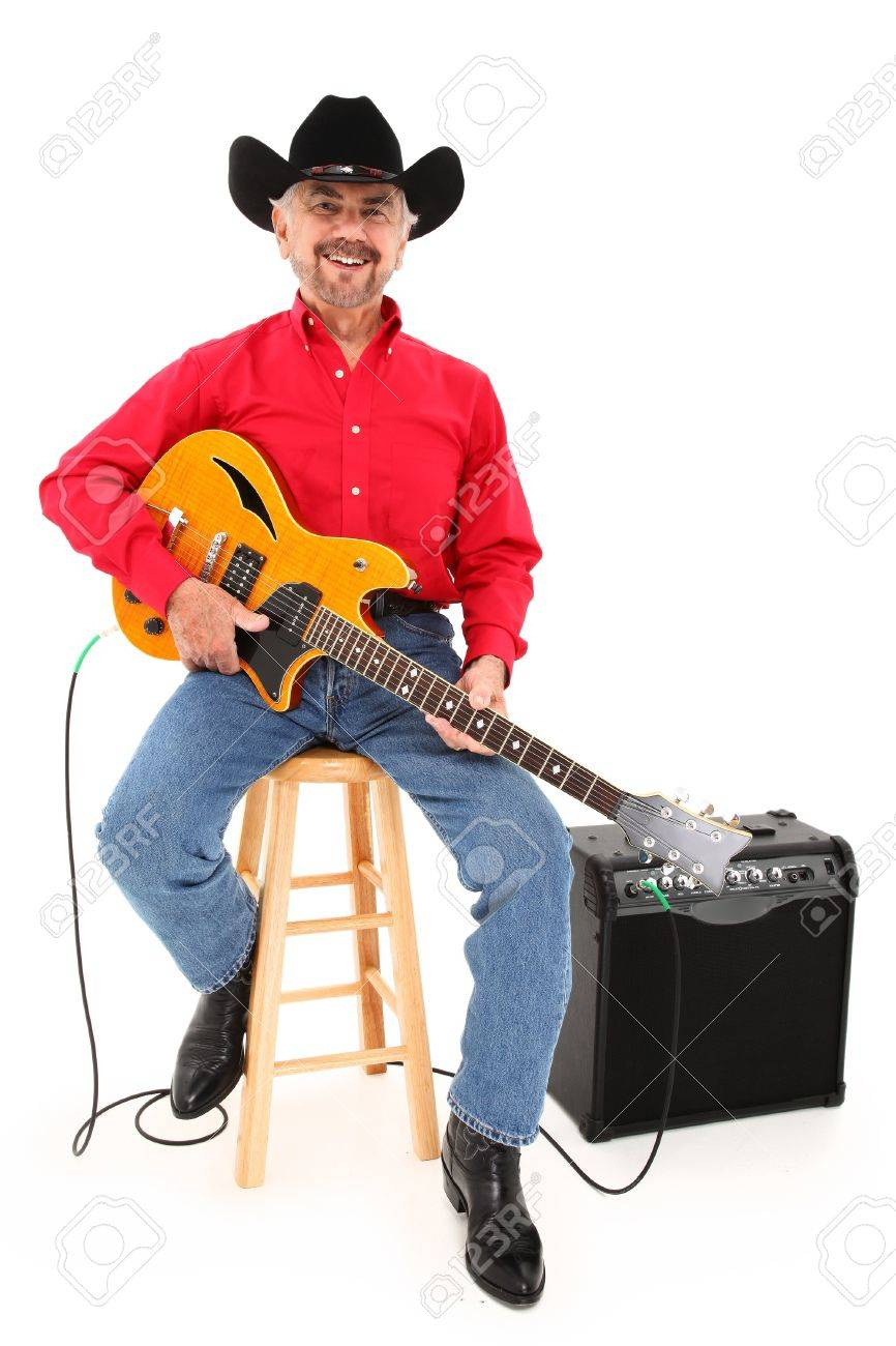 830753aaa71ed Attractive Elderly Country Musician With Electric Guitar