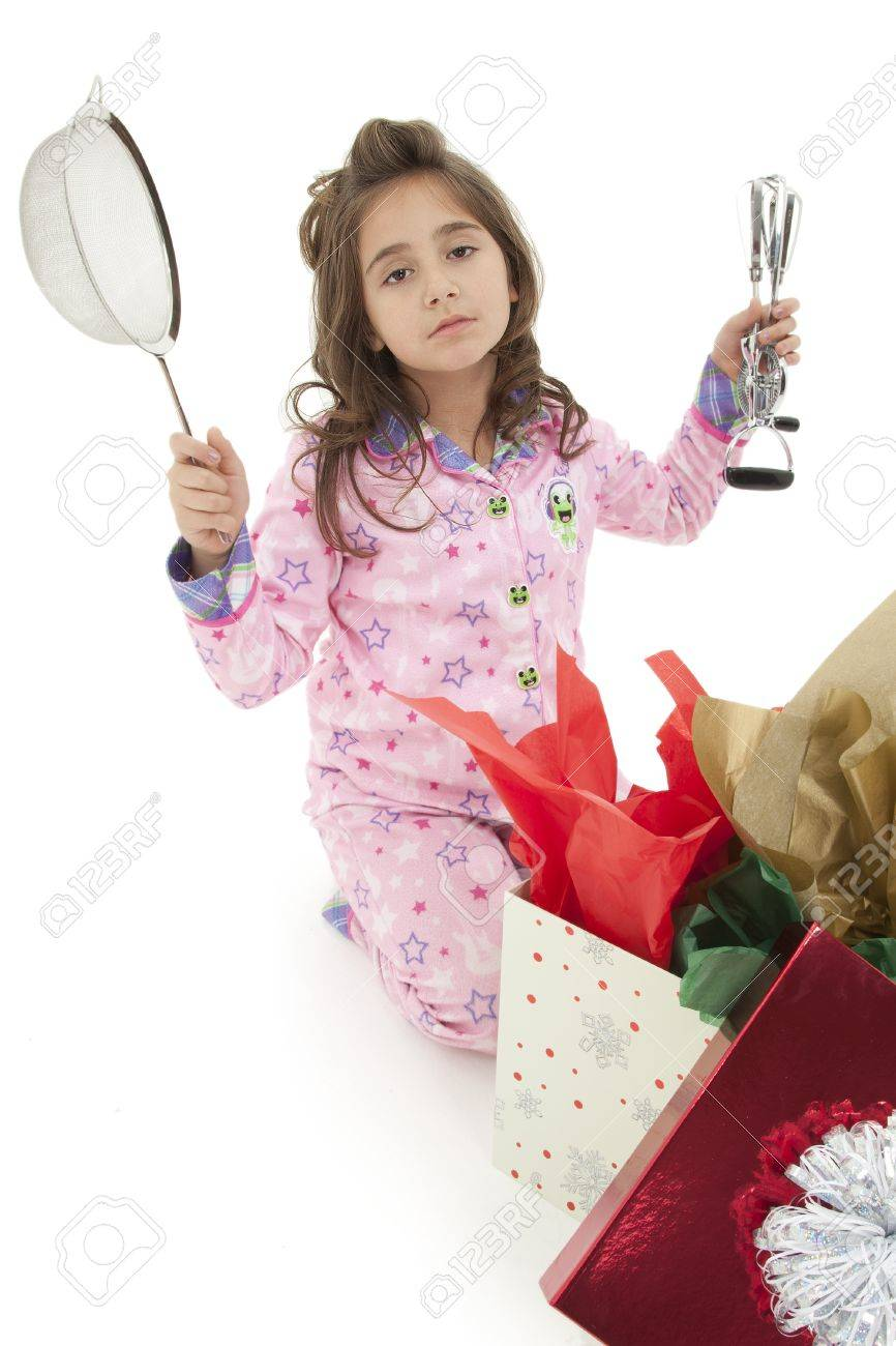 Girl Child Opening Bad Christmas Gift Over White With Disapointed ...