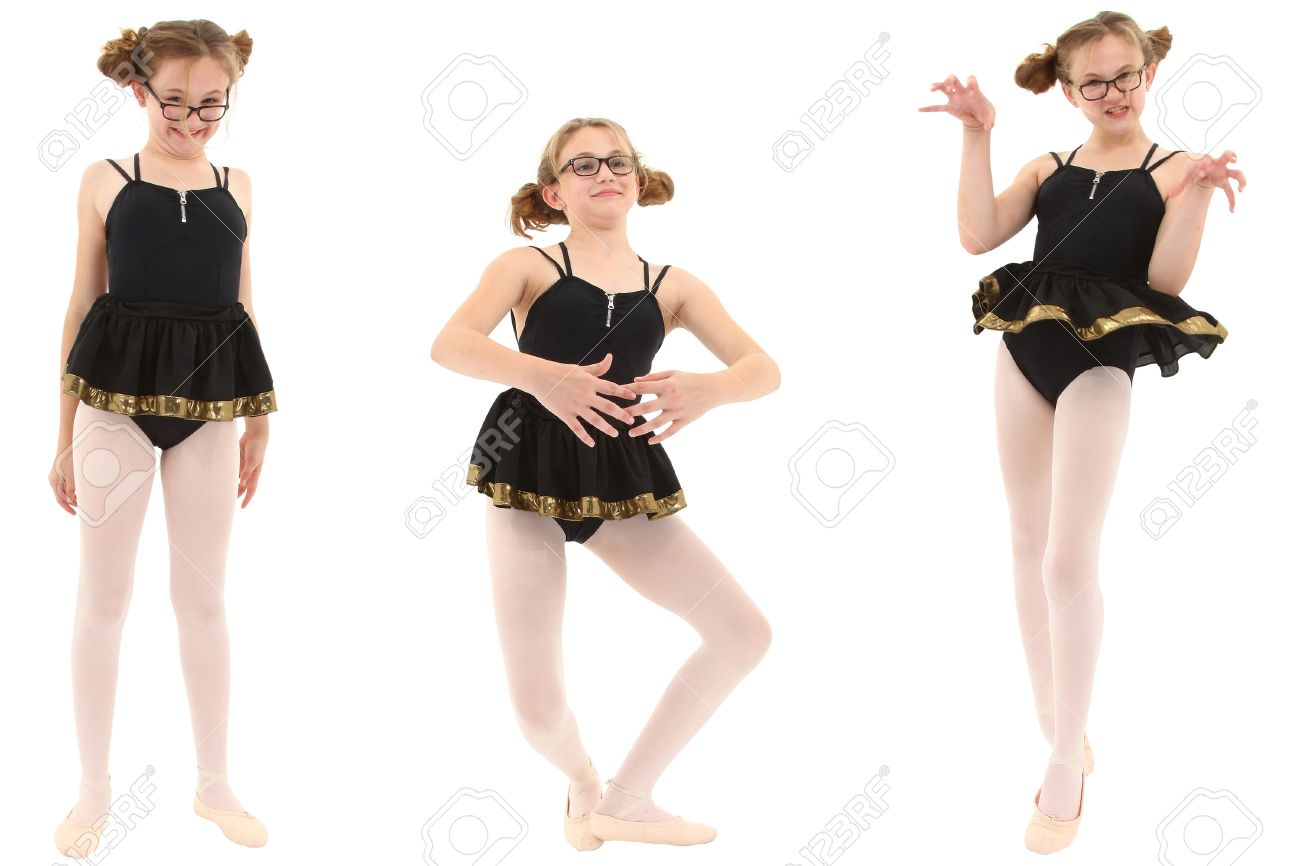 Uncategorized Funny Ballet funny geeky ballerina in three poses clipping path over white stock photo 21134637