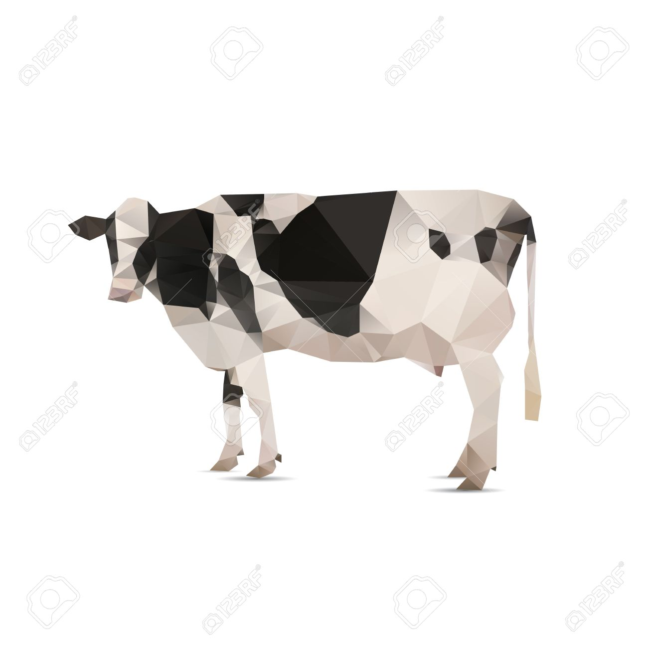 Illustration Of Origami Cow With Spots Isolated On White Background Stock Vector