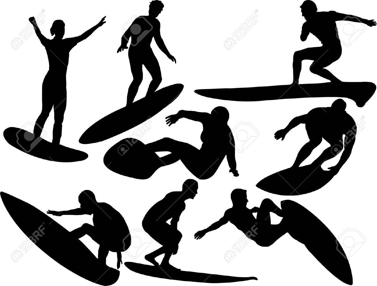 surfers collection silhouettes Stock Vector - 5003936