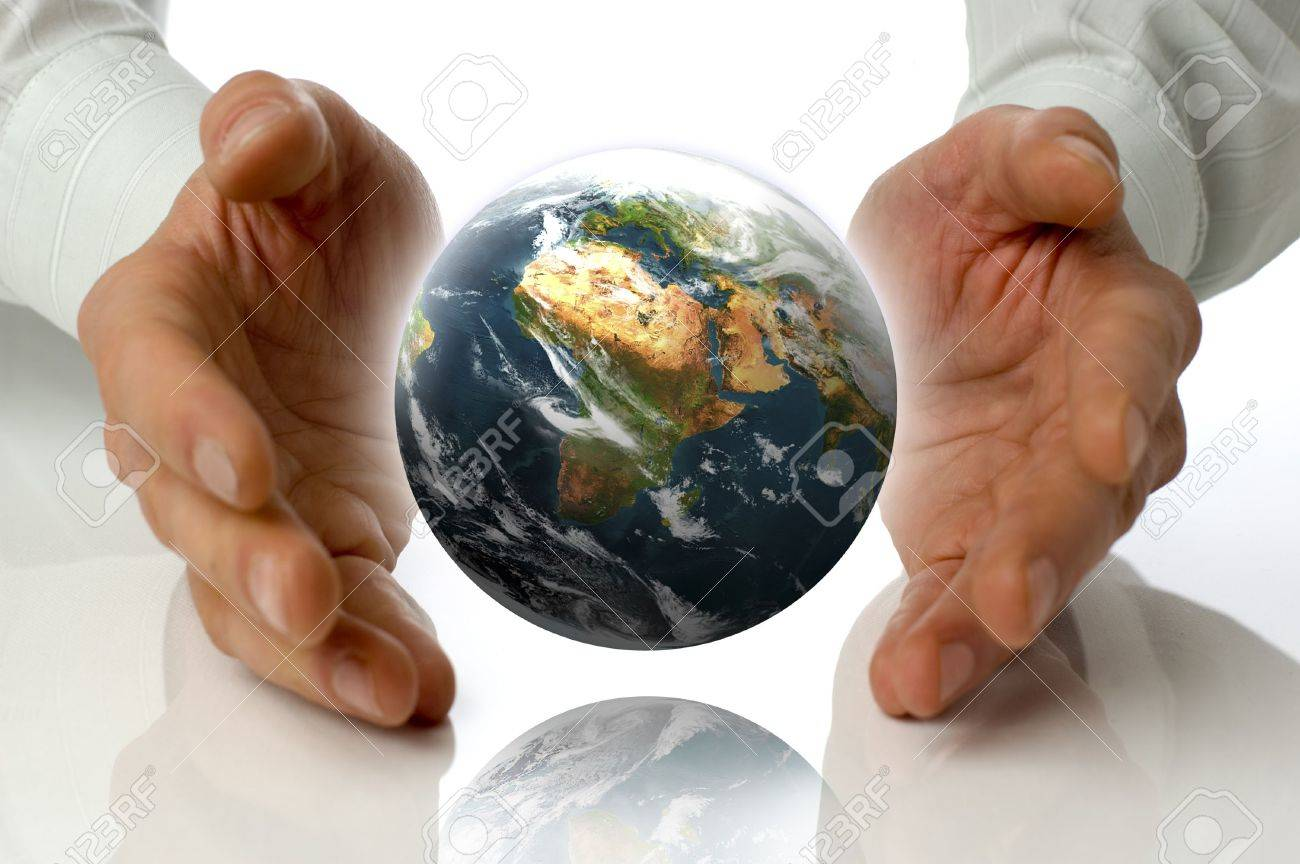 business men holding earth between hands on white Stock Photo - 733367