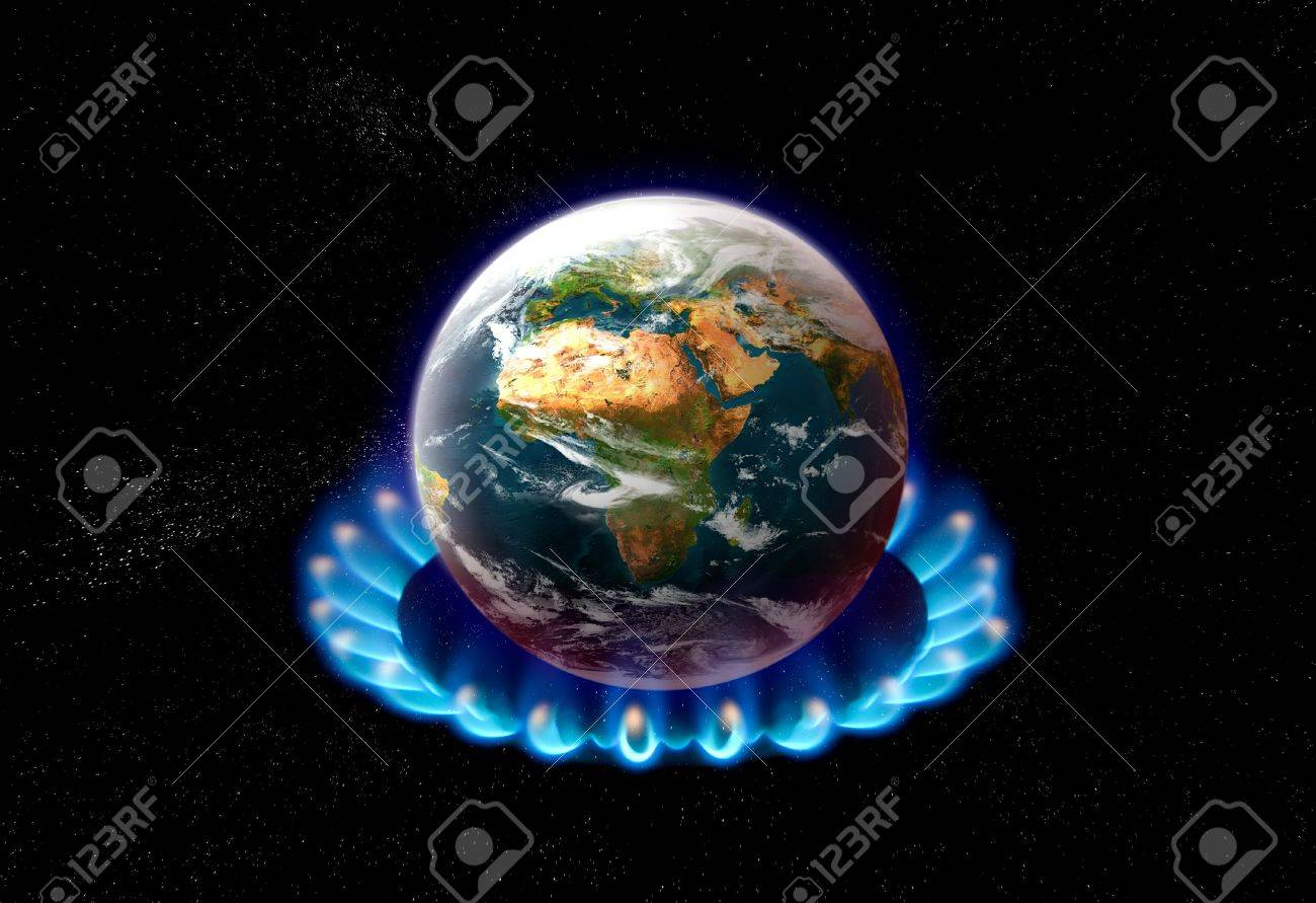 planet earth over heated on flames - global warming concept Stock Photo - 737924