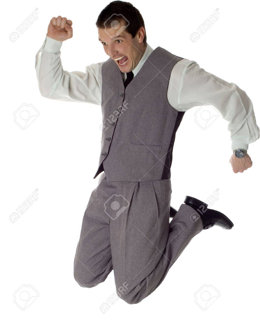 business men jumping on white - success concept Stock Photo - 756022