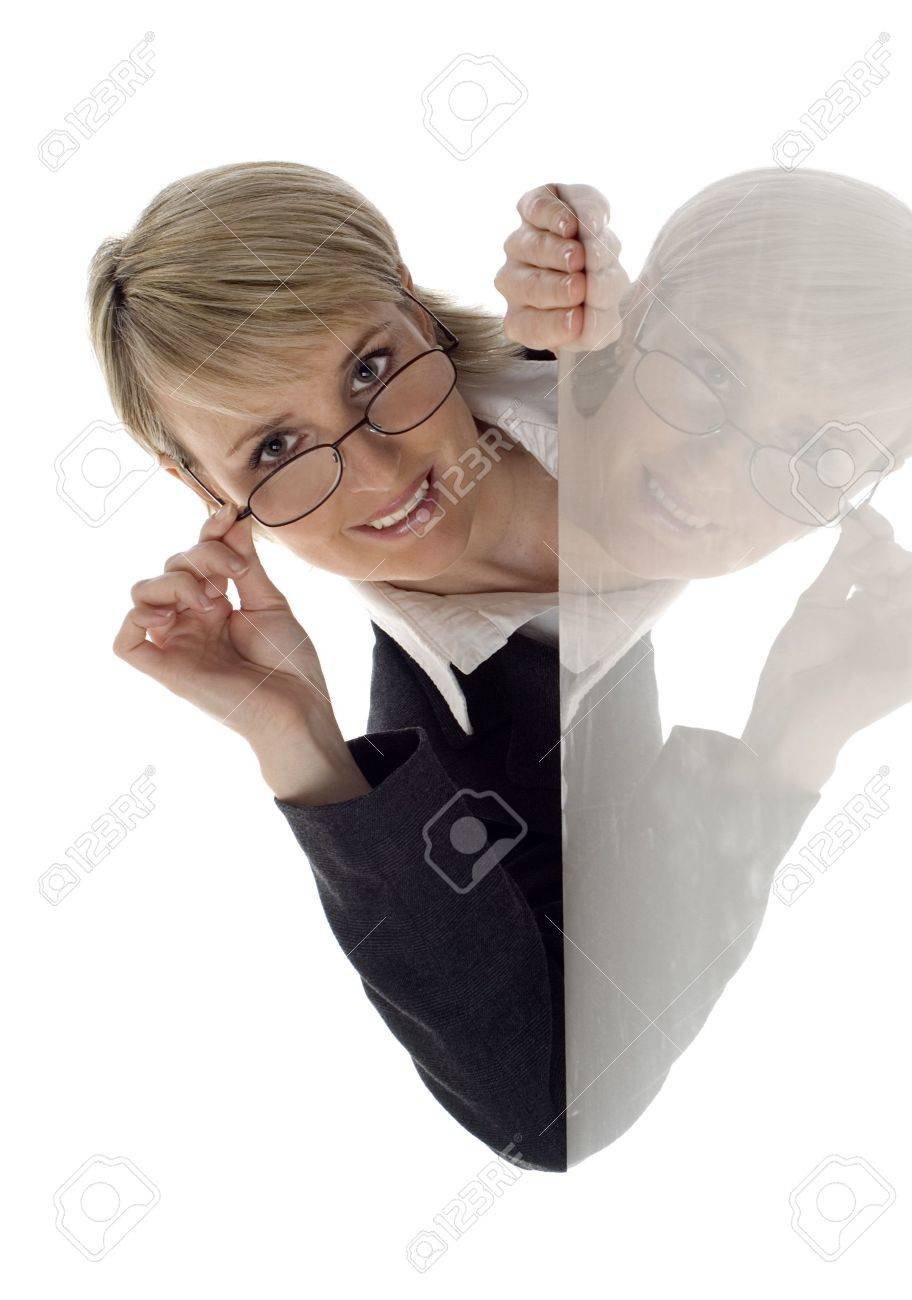 young business women peep behind corner on white Stock Photo - 756015