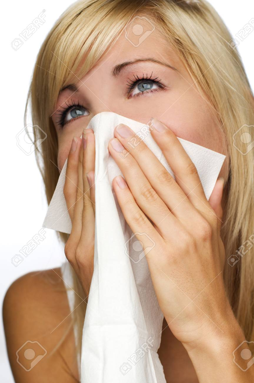 young blond woman having a cold close up Stock Photo - 3625432