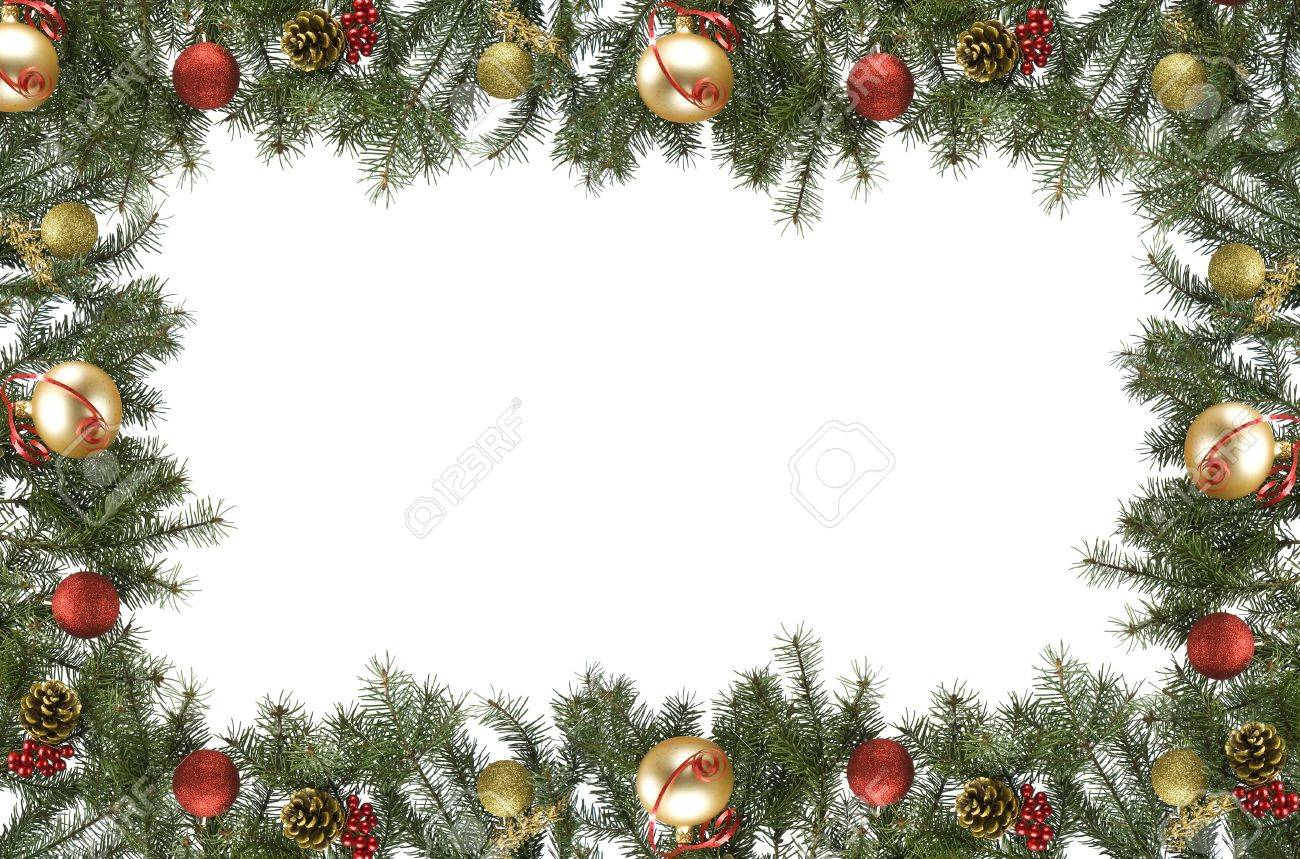 Christmas ornament frame - Stock Photo Christmas Frame Made From Pine Branch And Ornaments On White