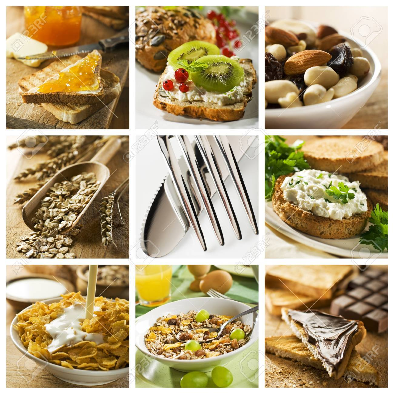 healthy breakfast collage made from nine photographs Stock Photo - 4221581