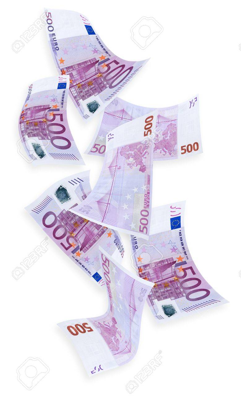 Euro Money Raining Down Isolated On White Stock Photo Picture And