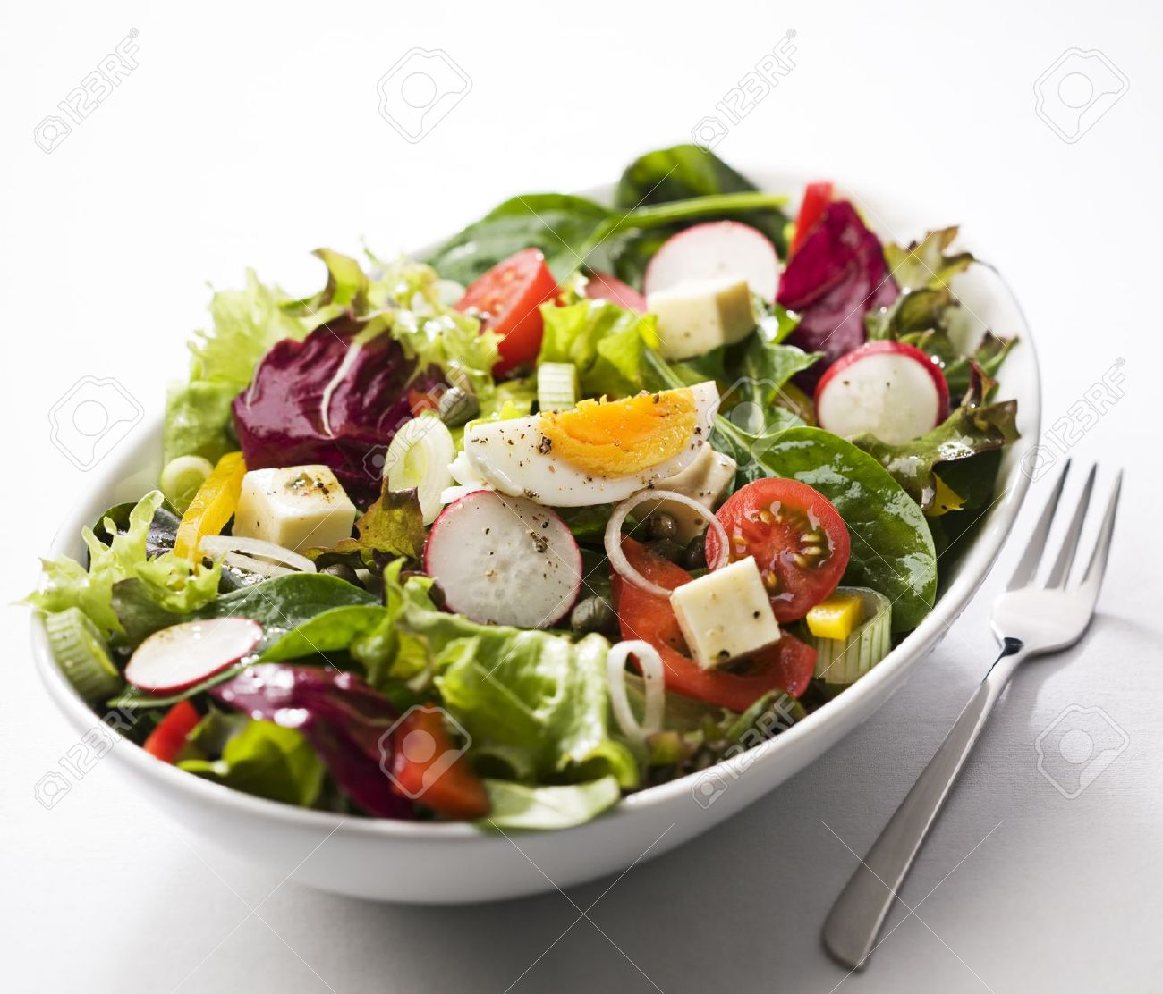 Fresh mixed salad with egg close up Stock Photo - 9372260