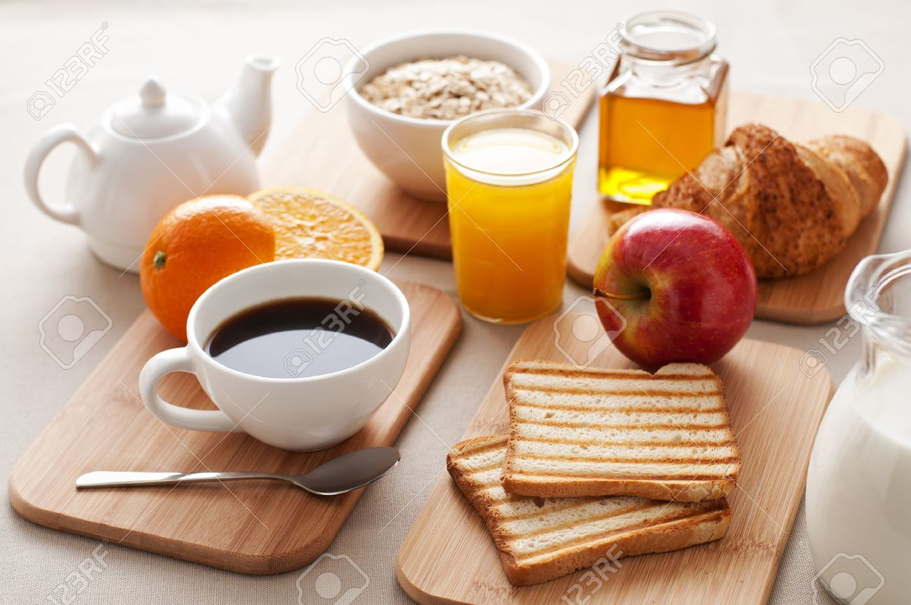 Healthy Breakfast On The Table Close Up Stock Photo, Picture And ...