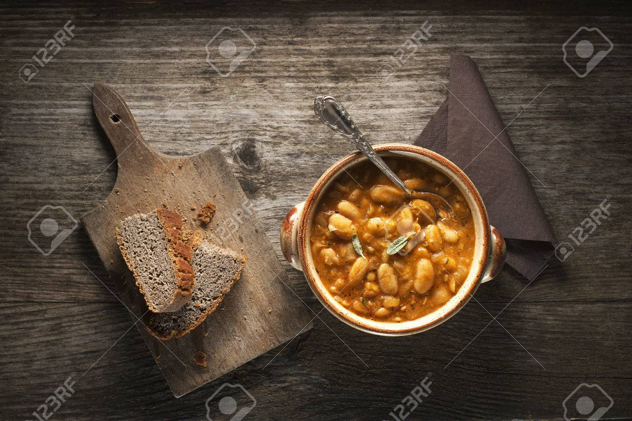 White bean stew with bread close up - 36065460