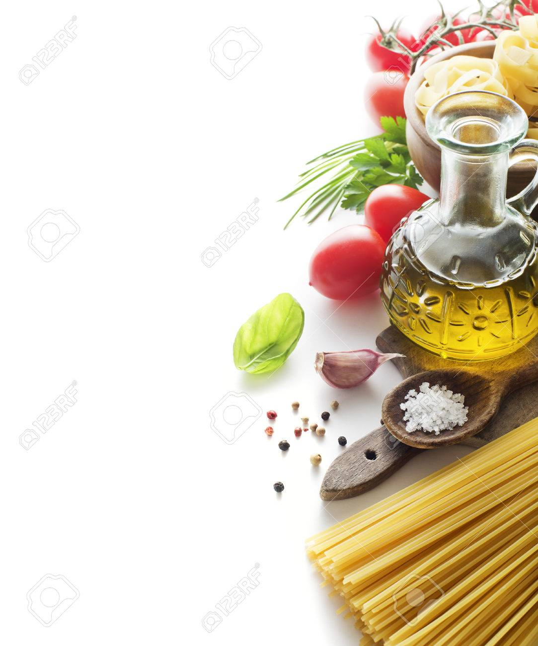 Raw Pasta with ingredients isolated on white background - 36811036