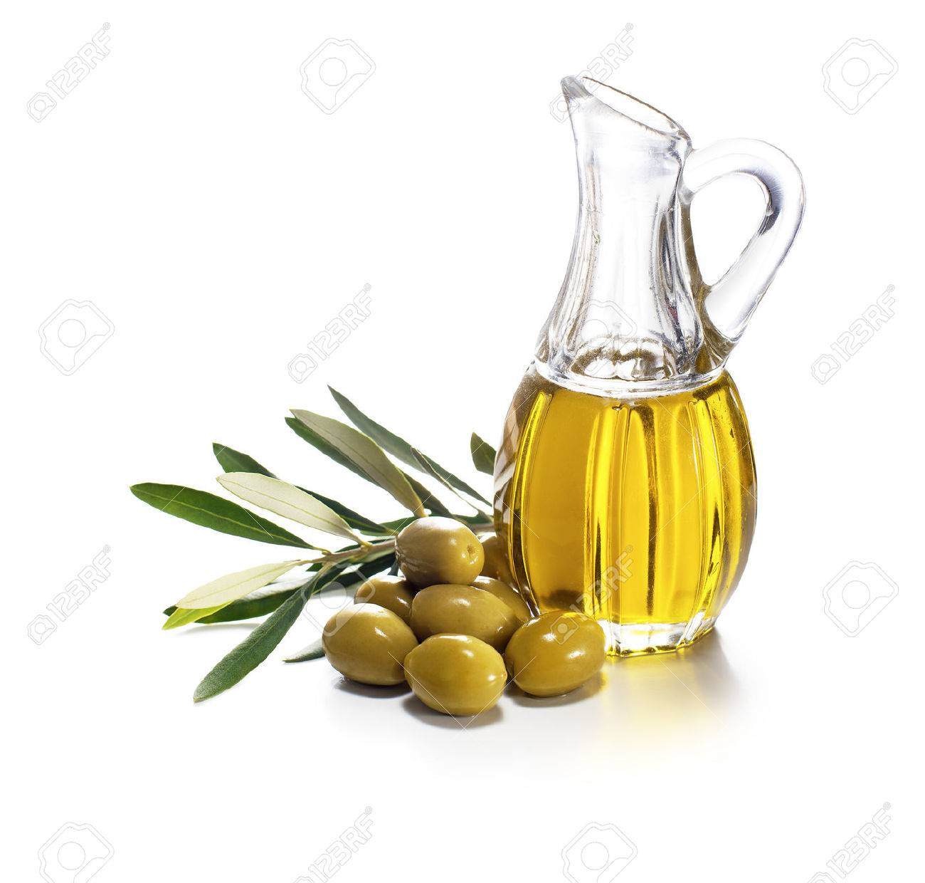 Olive oil and olive branch on white background - 36957076