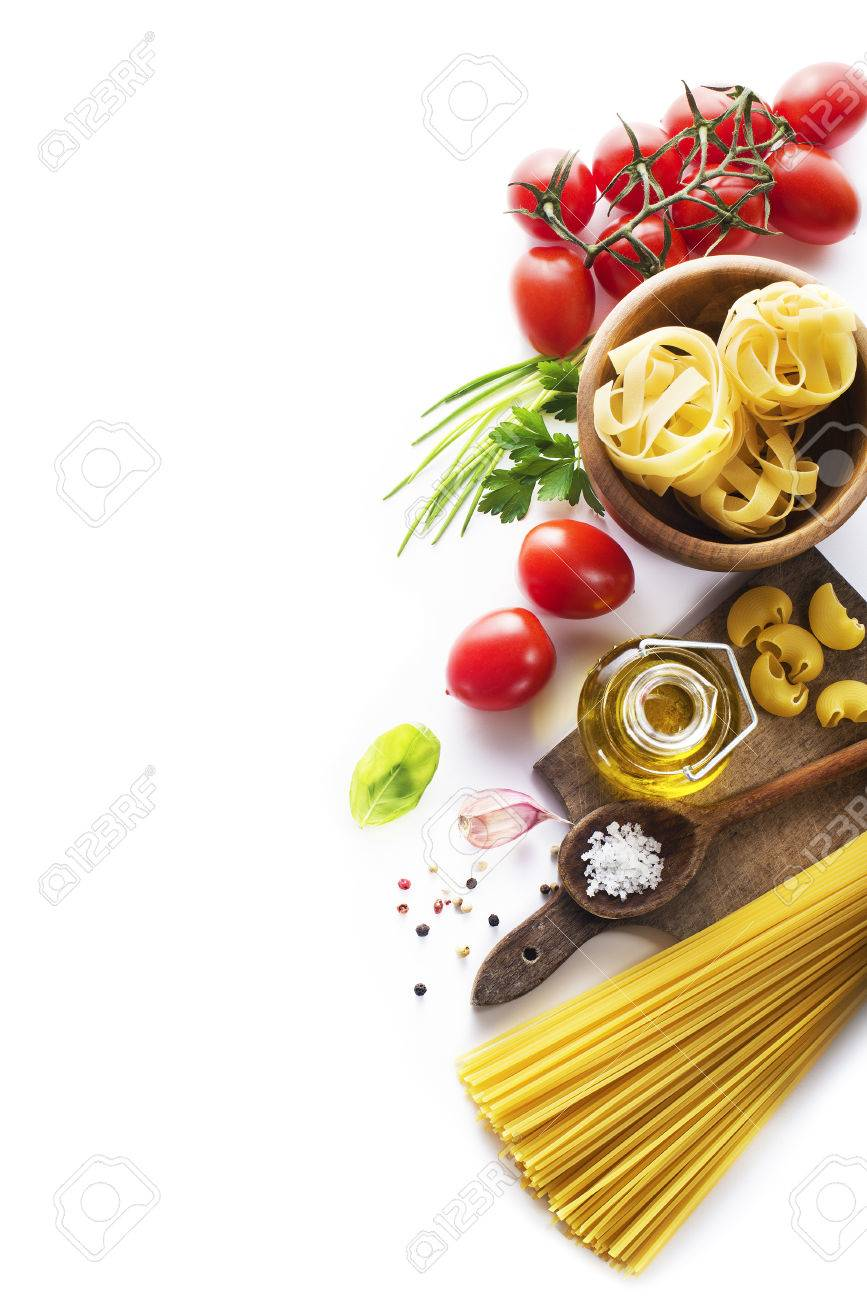 Raw Pasta with ingredients on white background - 37038532