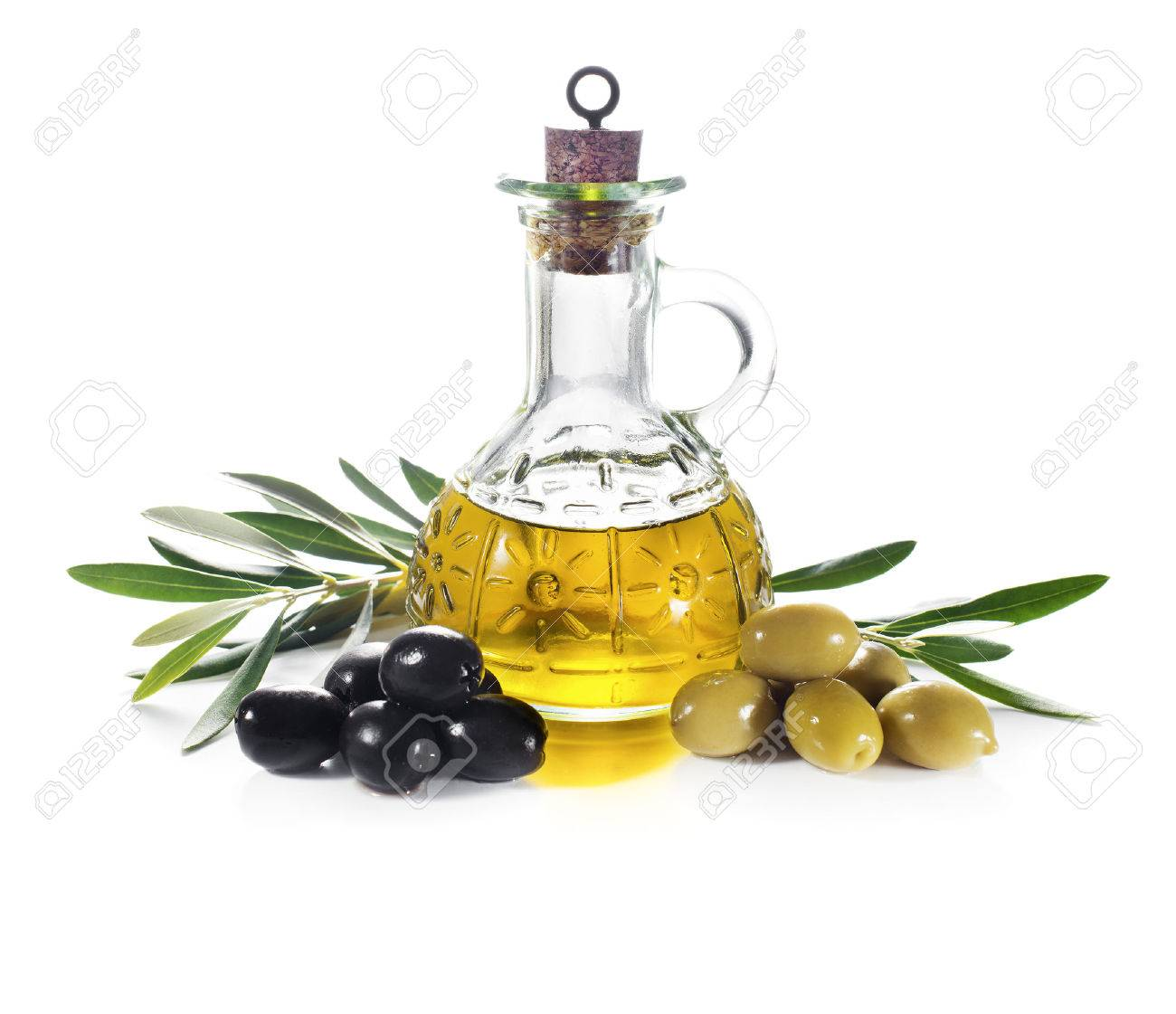Olive oil and olive branch isolated on white - 37355222