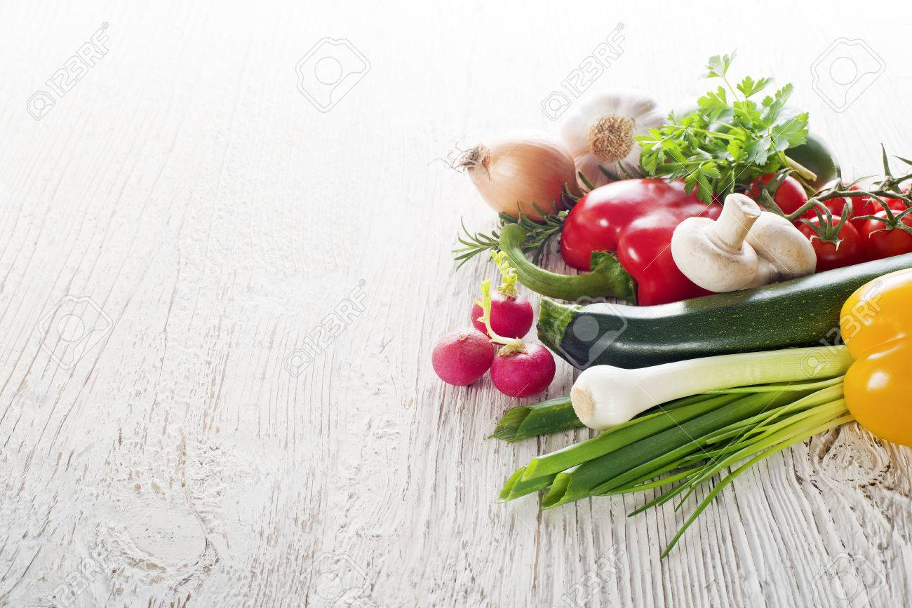Vegetables on white wooden background close up - 37751568