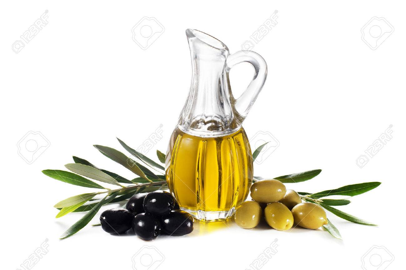 Olive oil and olive branch isolated on white - 39342253