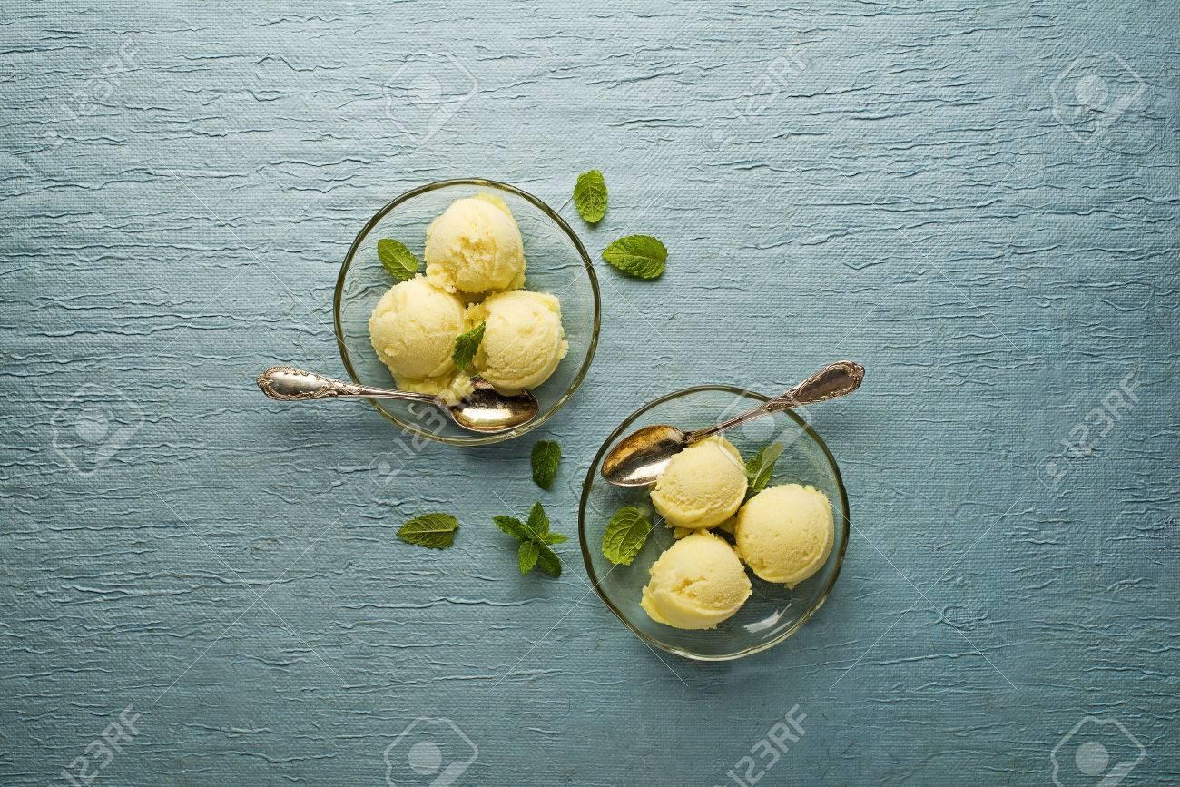 Fresh fruit sorbet ice cream in a glass plate - overhead shots. - 42149682