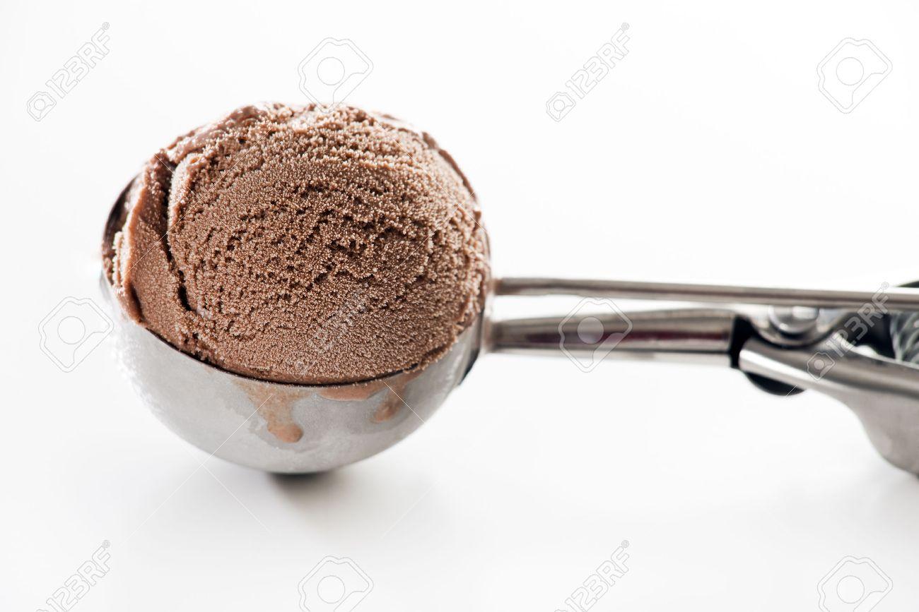 Fresh chocolate ice cream scoop close up. - 42309284