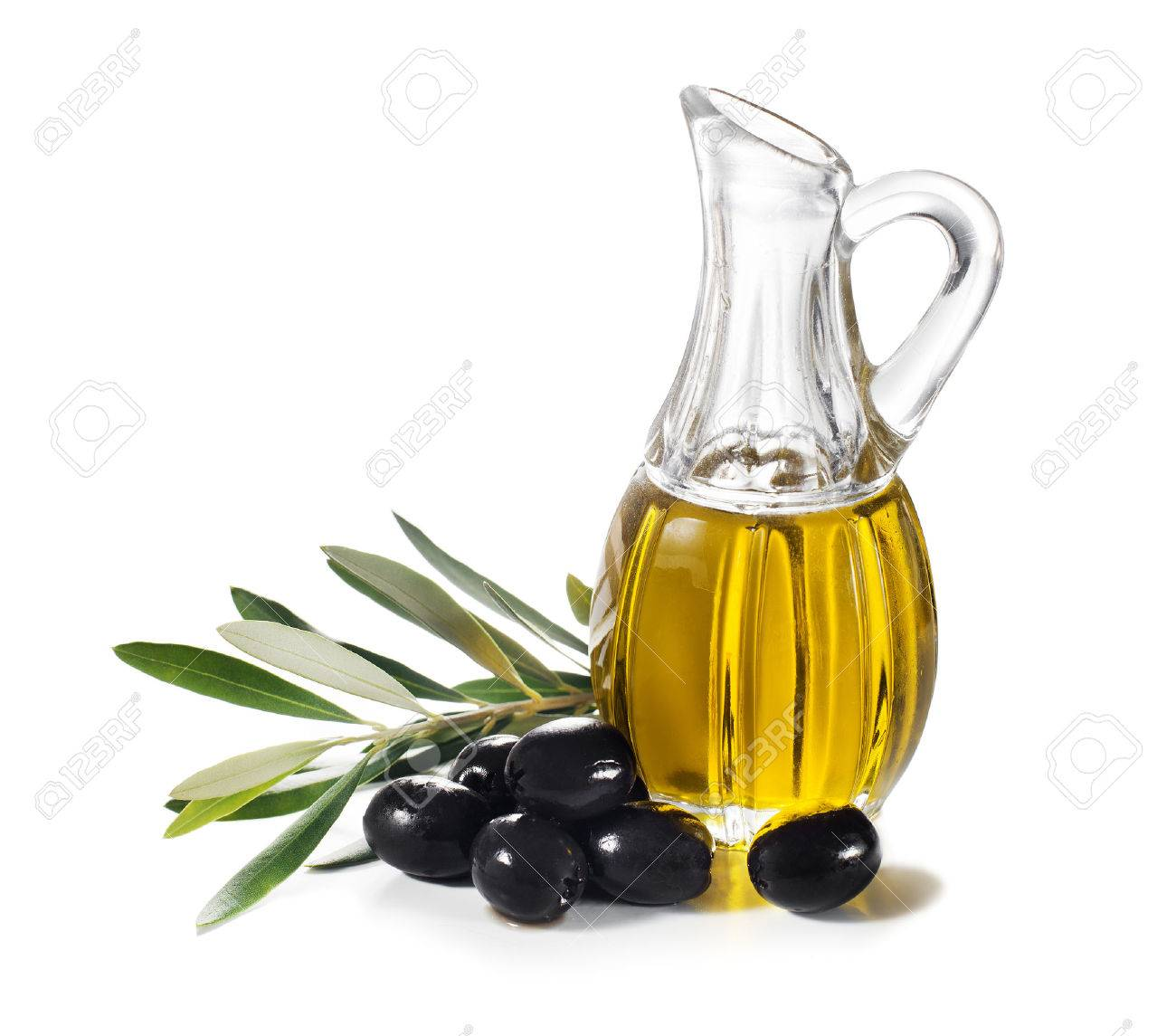 Olive oil and olive branch isolated on white. - 44188177