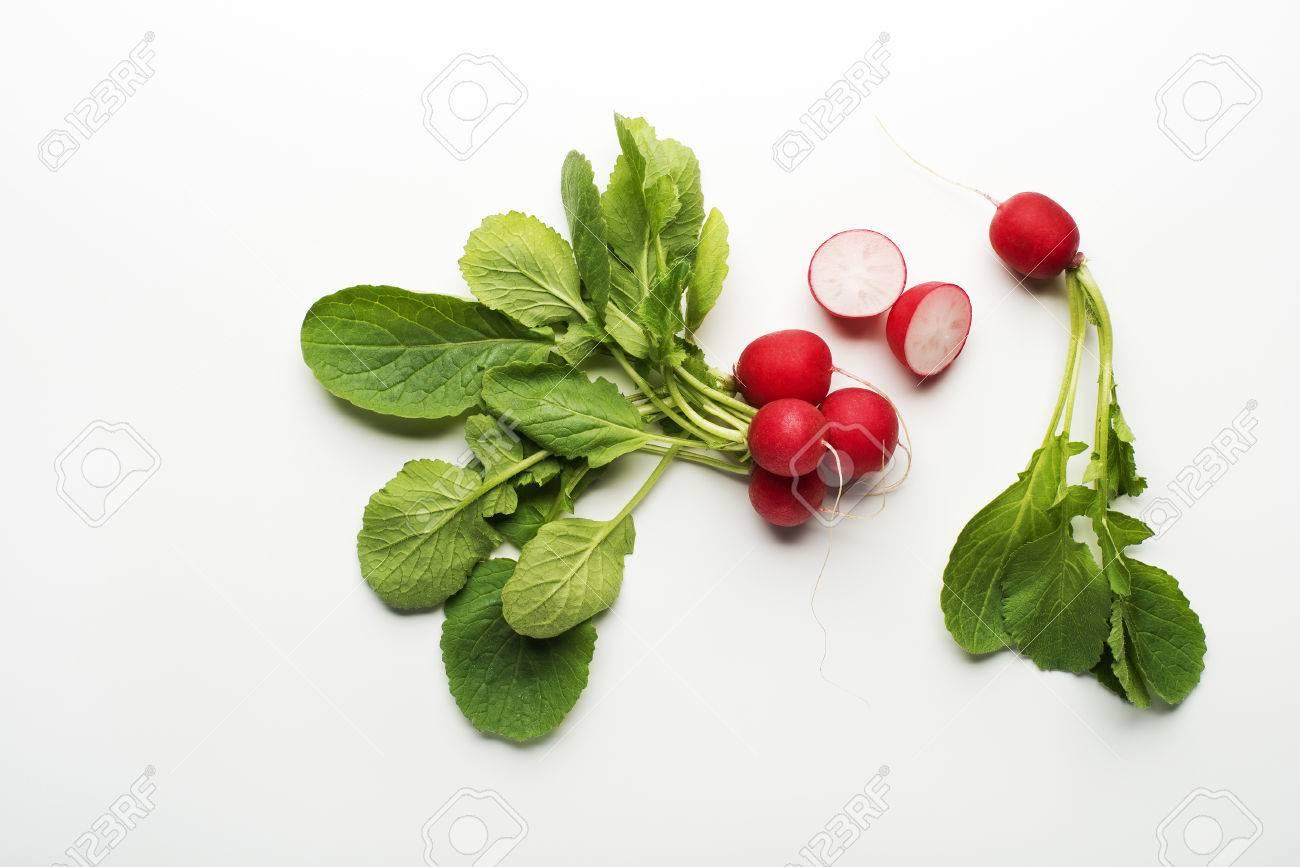 Fresh red radish isolated on a white background close up. - 52042962
