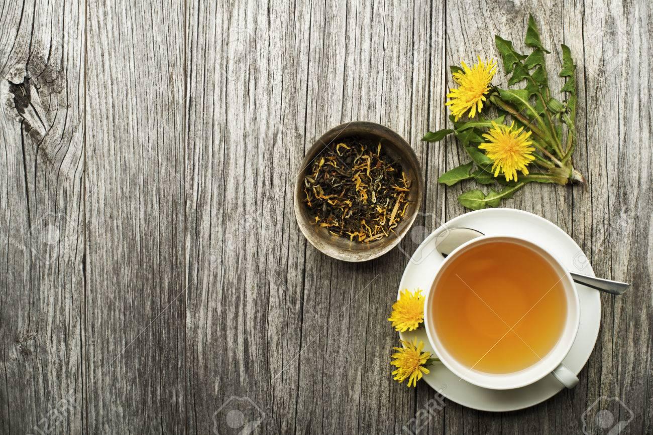 Cup of healthy dandelion tea on wooden background. Herbal medicine. - 76462549