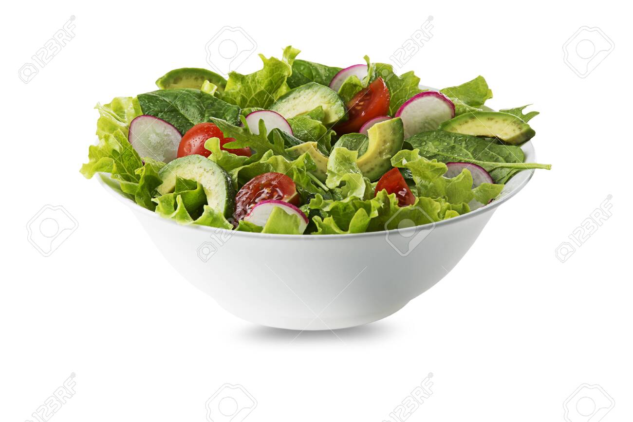 Green salad with avocado, tomato and fresh vegetables isolated on white background - 138663671