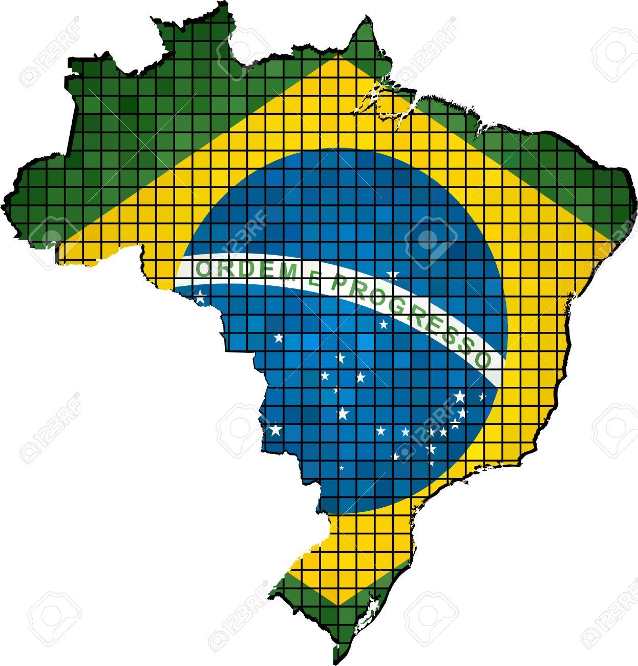 Brazil Map With Flag Inside, Map Of Brazil - Brazilian National ...
