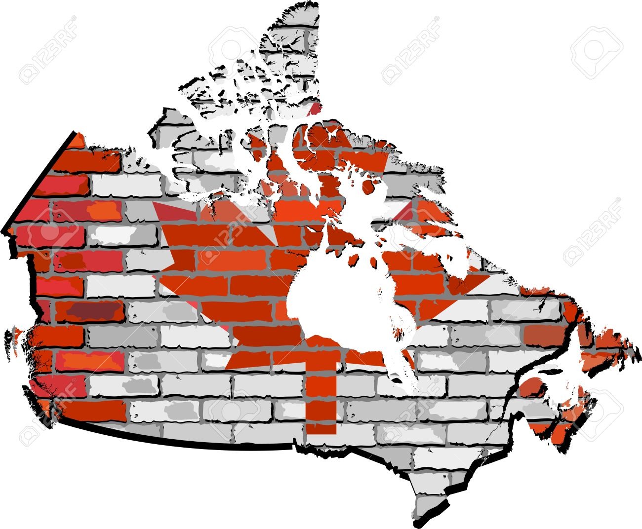 Canada Map With Flag Inside Canadian Flags And Map In Mosaic - Canada map with flag