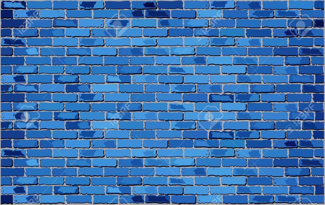 Blue Brick Wall, Retro blue brick wall Vector, Seamless realistic