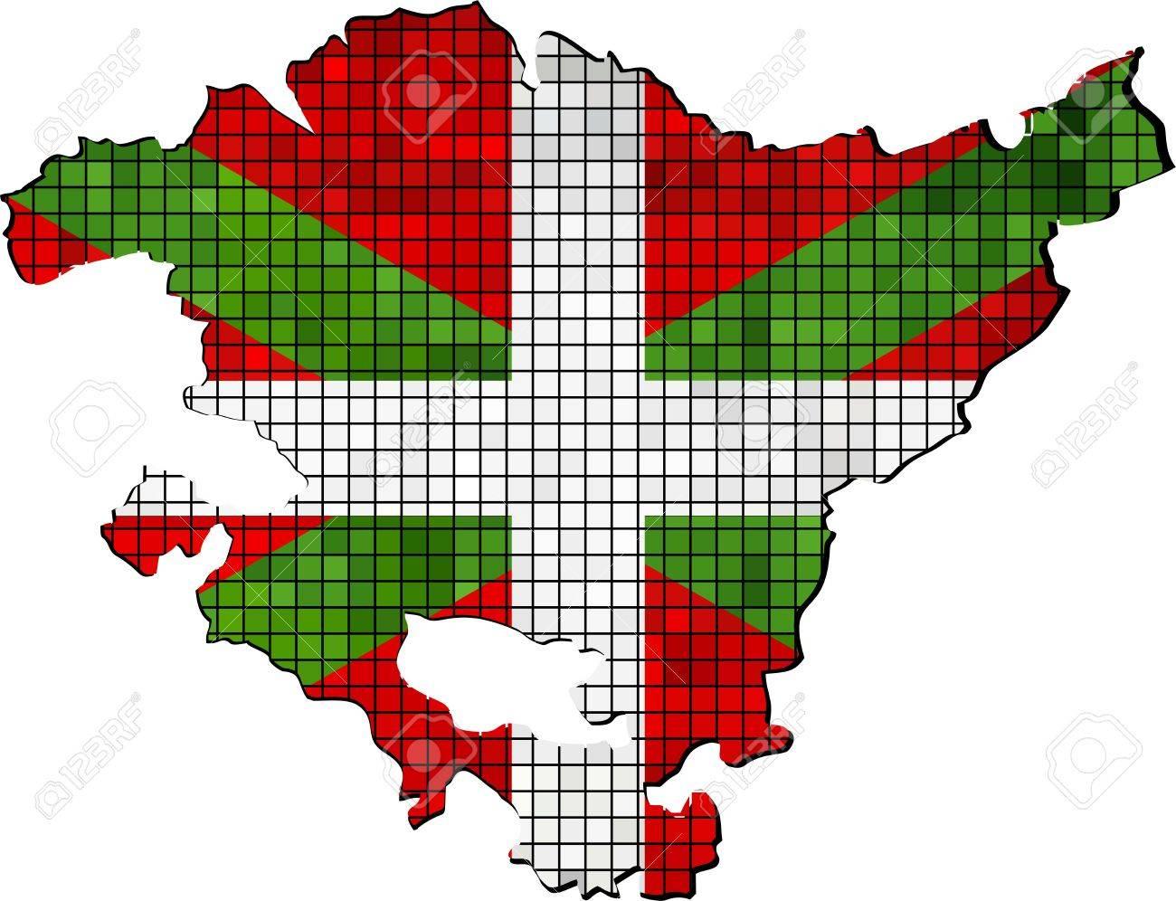Mapa con la bandera vasca en el interior, un mapa del vector de la  Comunidad Autónoma de País Vasco, bandera vasca y el mapa, Extracto del  mosaico de ...