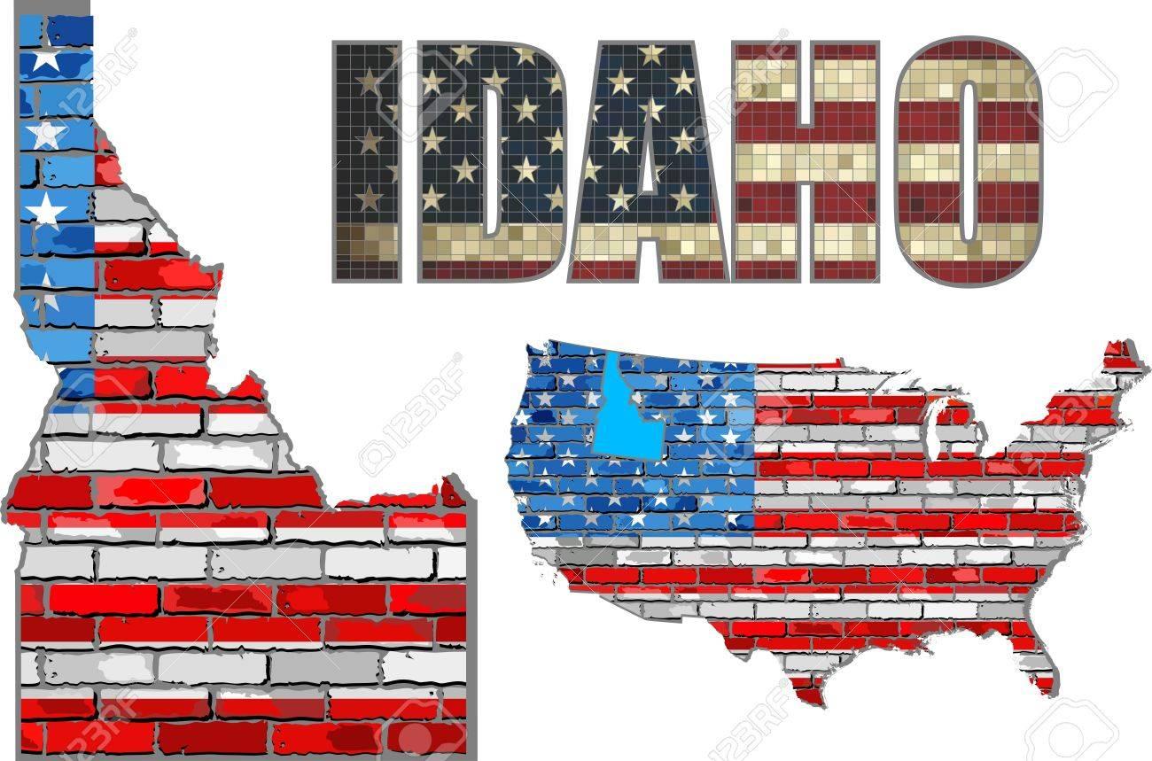 EE.UU. Estado De Idaho En Una Pared De Ladrillo - Ilustración, La ...