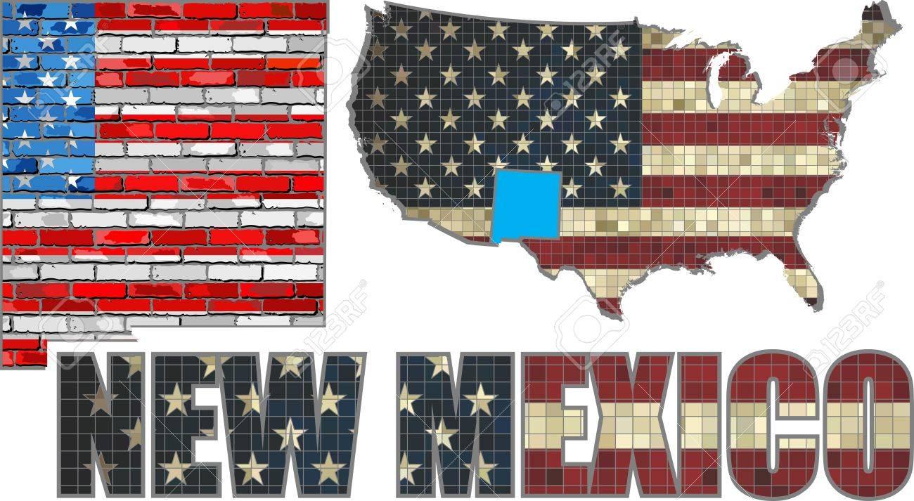 EE.UU. Estado De Nuevo México En Una Pared De Ladrillo - Ilustración ...