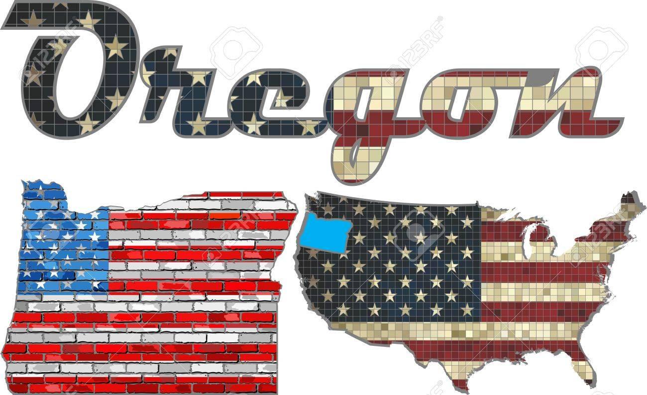 USA State Of Oregon On A Brick Wall - Illustration, The Flag ...