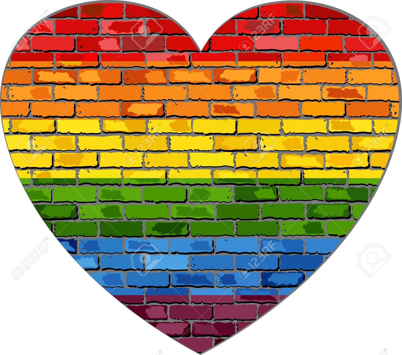 LGBT Flag On A Brick Wall In Heart - Illustration, Symbol Of ...