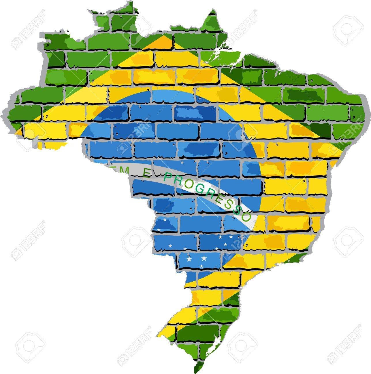 Brazil Map On A Brick Wall Illustration Brazilian Map With
