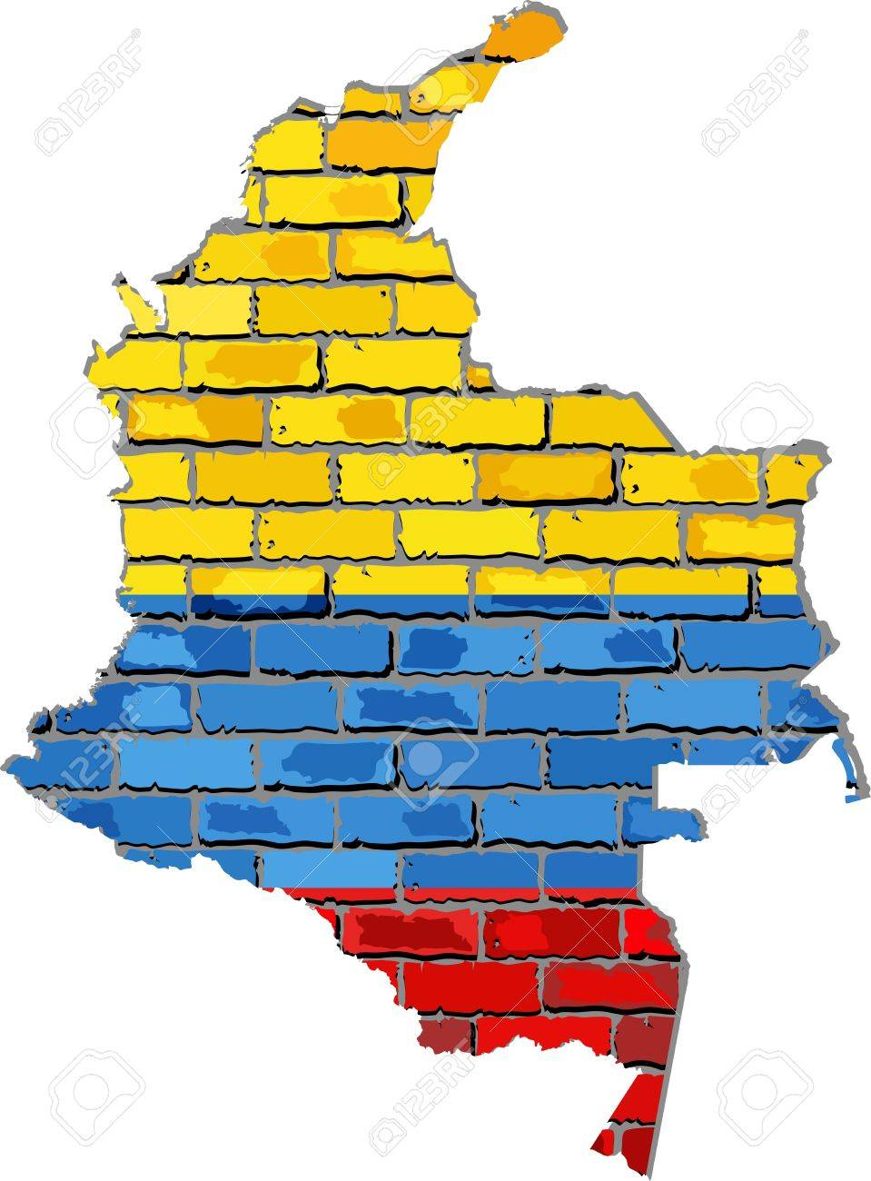 Colombia Map On A Brick Wall - Illustration, Colombian Map.. Royalty ...