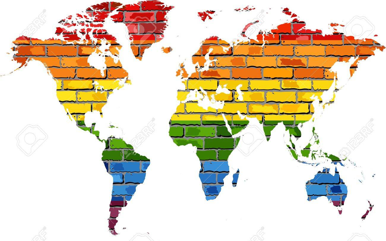 Whole Map Of The World.Map Of World In Colors Of Pride Flag Illustration World Map