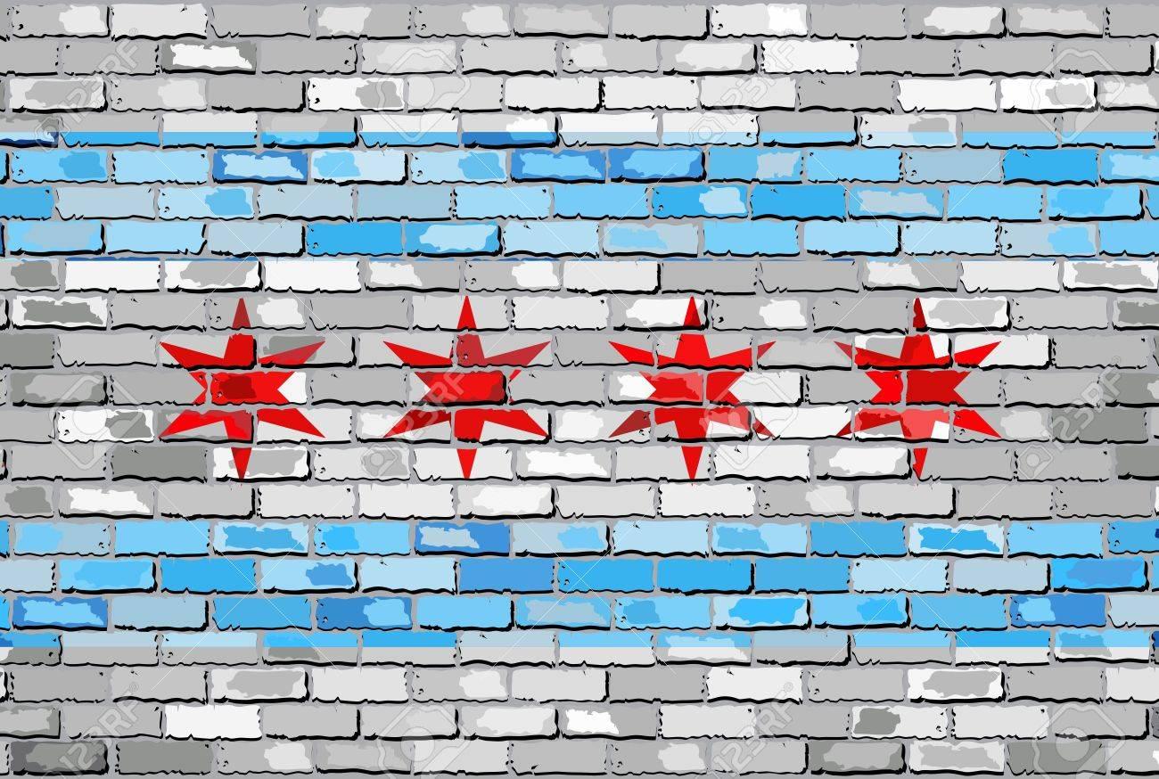 Bandera De Chicago En Una Pared De Ladrillo - Ilustración, La ...