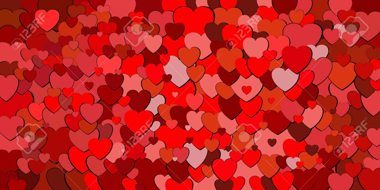 a8d240a0ca4e Abstract Background With Red Hearts - Illustration
