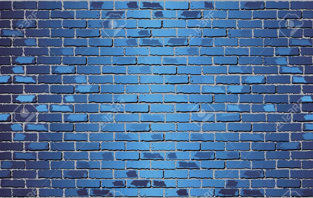 Shiny Blue Brick Wall - Illustration, Abstract vector background - 121916642