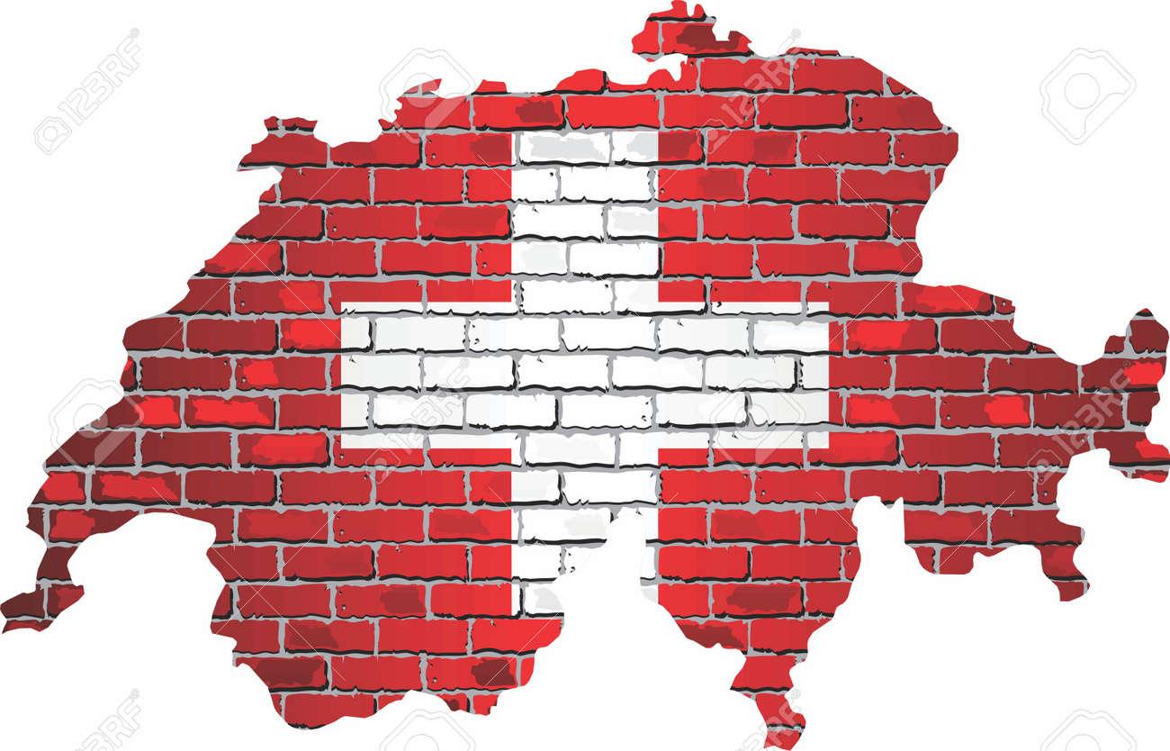 Shiny Switzerland map on a brick wall - Illustration, Map of the Switzerland with shiny flag inside - 154763953