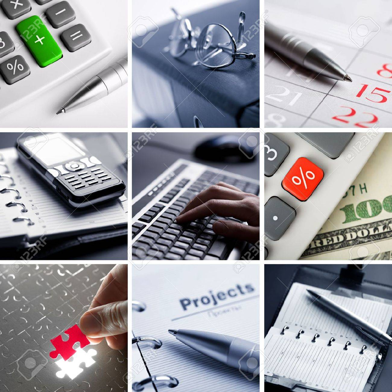 business collage of nine photos Stock Photo - 4799912