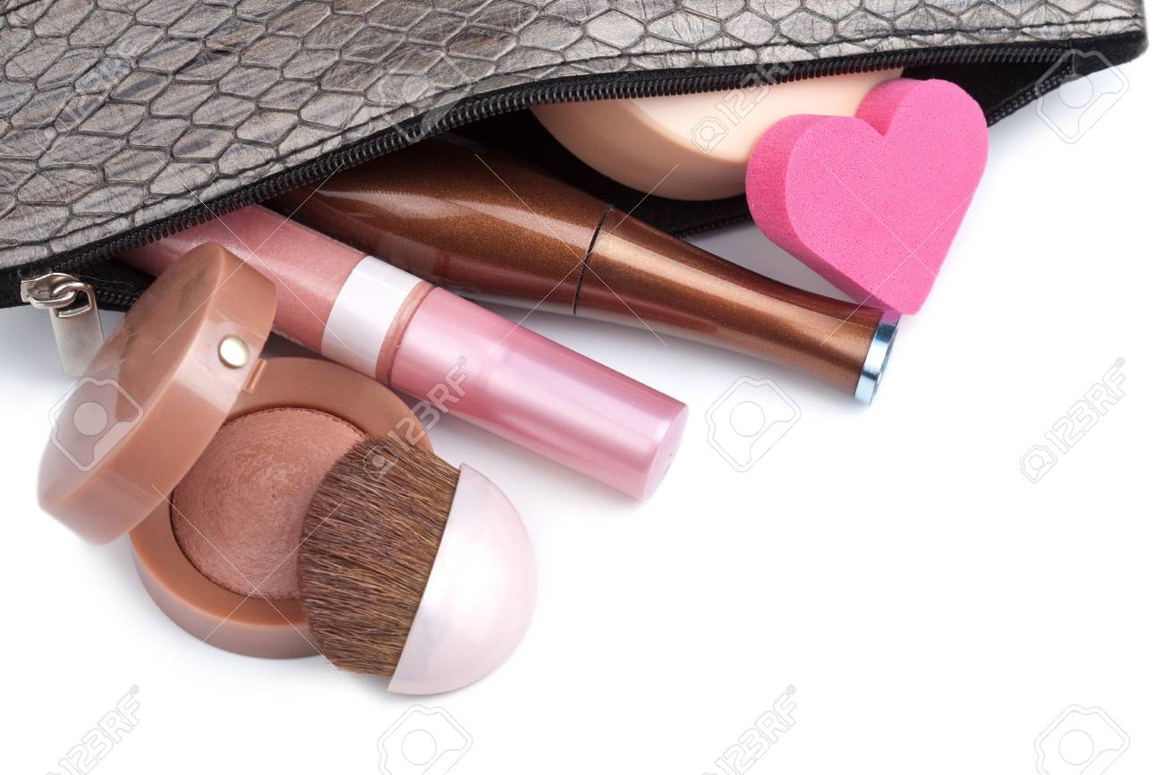 black bag with cosmetics isolated Stock Photo - 7620257
